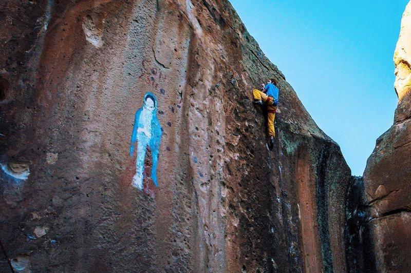 Rock Climbing Photo: Battling through the crux.  Photo: Prayash Thapa.
