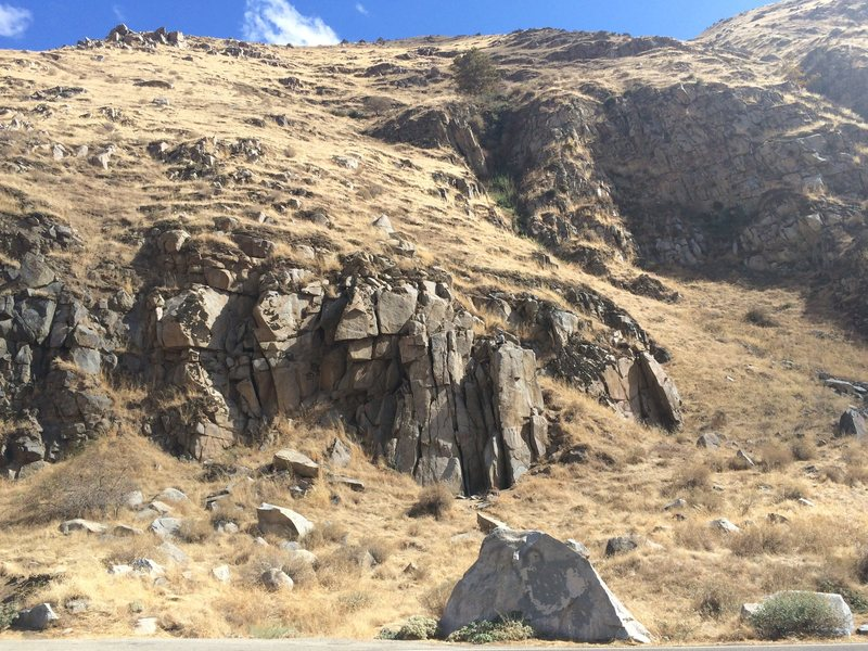 Roadside Crag.  Person on top for scale.