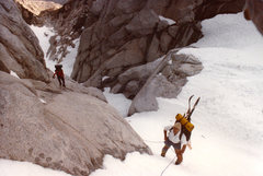Rock Climbing Photo: Above the chockstone 1987.