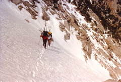 Rock Climbing Photo: In the couloir - maybe a third of the way up, 1987...
