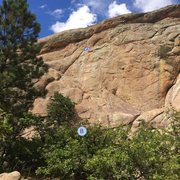 Rock Climbing Photo: View of Mama Jugs from southern approach: (A) indi...