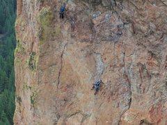 Rock Climbing Photo: Haley following the great face climbing on P2