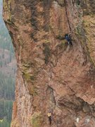 Rock Climbing Photo: About to enter the choss zone on P3