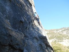 Rock Climbing Photo: Ramsey starting the route