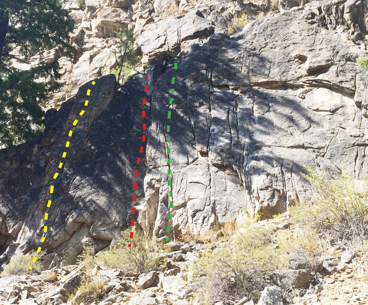 Rock Climbing Photo: Yellow line is Little Bear Hug.