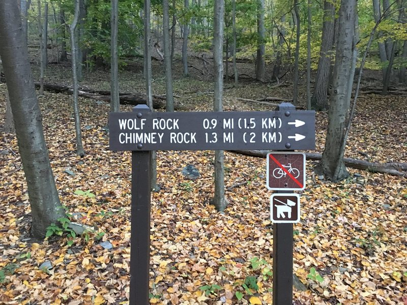 Trail sign from Park Central Road parking area.