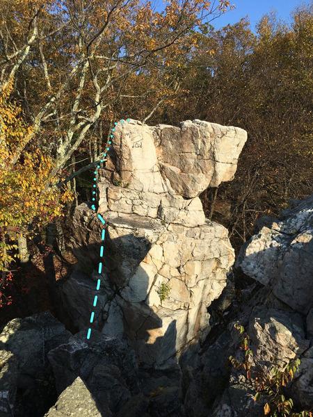 Rock Climbing Photo: Wolf's Head Pillar Access Scramble