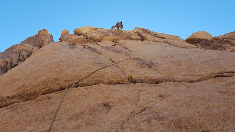 Follow the rope and climber.