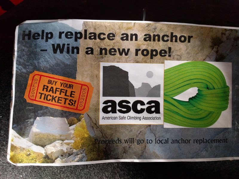 Offering any new Beal rope up to $380 in value to raise money for the ASCA. Raffle tickets are $2/EA.