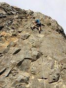 Rock Climbing Photo: Nick on lead, rocking the bike helmet!