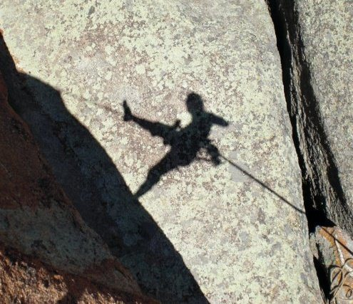 Rock Climbing Photo: Free rap down the Potato Chip in Vedauwoo, WY.