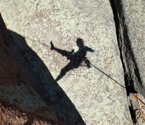 Rock Climbing Photo: Free rap down the Potato Chip in Vedauwoo, WY.