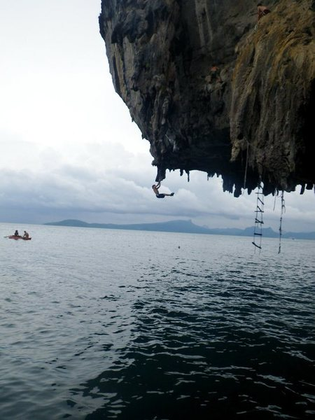 Deep water solo in Ton Sai, Thailand