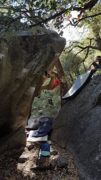 Rock Climbing Photo: Getting into the final moves.  This problem is an ...