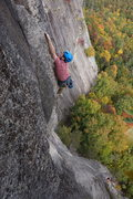 Sending the triangle-roof dihedral on The Prow (5.11d) at Cathedral Ledge, N. Conway, N.H.
