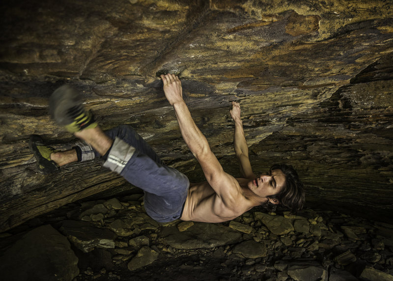 Rock Climbing Photo: Tal on the FA of the problem on 10/23/16