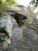 Rock Climbing Photo: Starts on smaller dihedral and then obvious weakne...