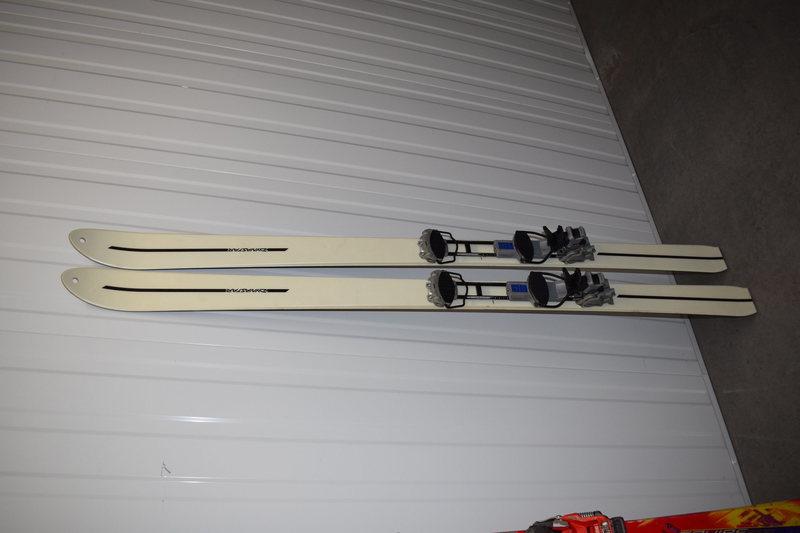 Rock Climbing Photo: Custom Military Dynastar approach skis with easygo...