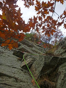 Rock Climbing Photo: Looking up from the start of pitch 3.  Climber beg...
