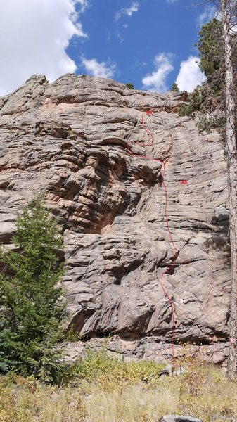 Rock Climbing Photo: Line of the route and rap anchors.