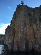 Rock Climbing Photo: Far right, parallel cracks. Start from ledge?