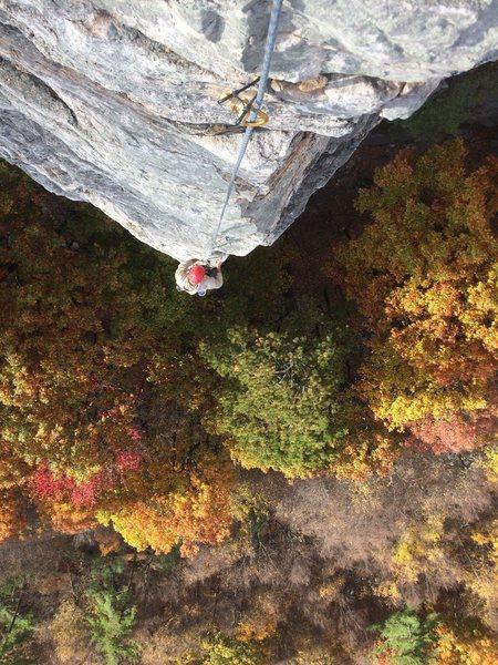 Rock Climbing Photo: Rodrigo finishing up arete-issima. Fall colors sho...