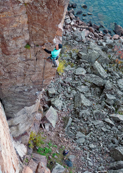 Superior Arete. Good rest ledge after the 12 section. Photo: Ellen Brodrick.
