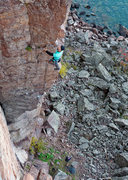 Rock Climbing Photo: Superior Arete. Good rest ledge after the 12 secti...