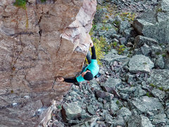 Rock Climbing Photo: Superior Arete. Crux moves. Photo: Ellen Brodrick.