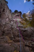 Rock Climbing Photo: P1 of Dirty Sanchez (center). First 5 bolted ancho...