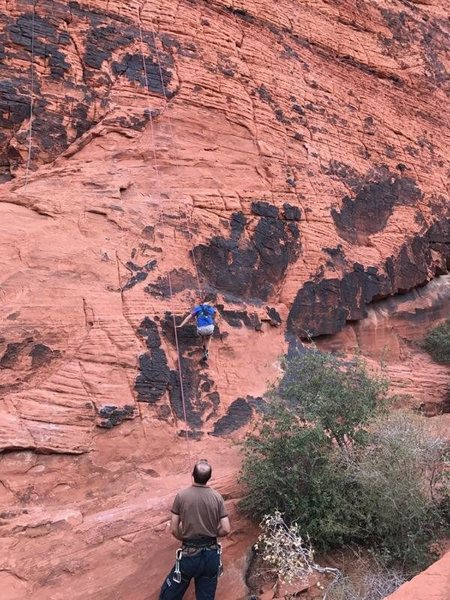 Rock Climbing Photo: Will on his first 5.7.  Taken on 10/23/16 at The H...