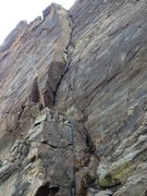 Rock Climbing Photo: A better beta photo showing a rope on the route.
