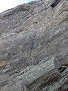 Rock Climbing Photo: The route with a rope hanging on it.  You can see ...