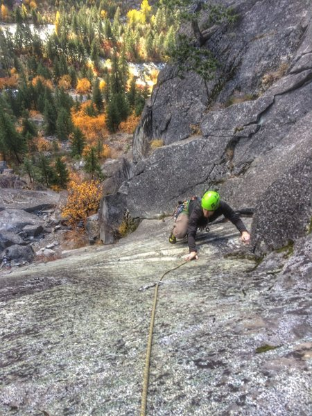 Zak topping out on a nice fall day. Easy to see where the route got it&@POUND@39@SEMICOLON@s name (no that&@POUND@39@SEMICOLON@s not lichen, the rock is clean).