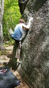 Rock Climbing Photo: The crux move on Lollipop. Makenzie Pond ADK's
