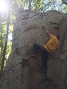 Rock Climbing Photo: Jacob Kansco pulling on left crimp.