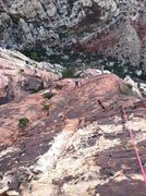 Rock Climbing Photo: Wendy coming up the face above the pine tree belay...