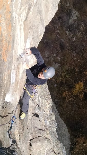 Rock Climbing Photo: Scott right after traverse on P3 about to head to ...