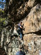 Rock Climbing Photo: Kevin moves past the 1st bolt at the start of the ...