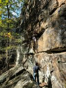 Rock Climbing Photo: Jon clips the 2nd bolt