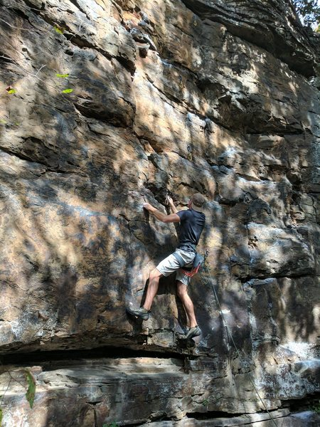 Jon moves past the large ledge, not realizing that he just climbed past a snake sunbathing on the crack.