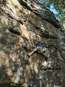Rock Climbing Photo: Jon moves across the route as it meanders up the w...