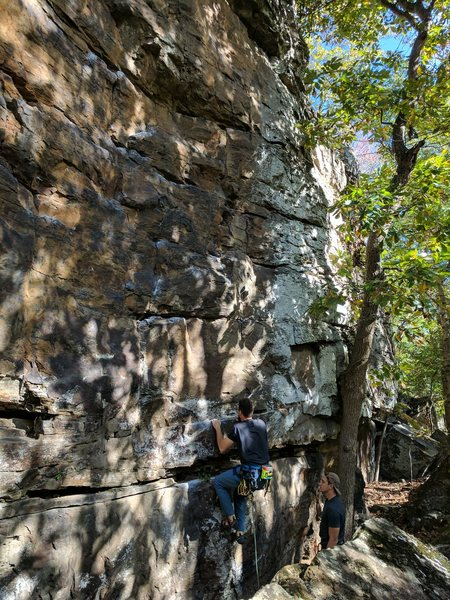Rock Climbing Photo: Kevin works his way through the opening crux