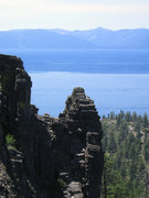 Rock Climbing Photo: Lake Tahoe from the middle of the route