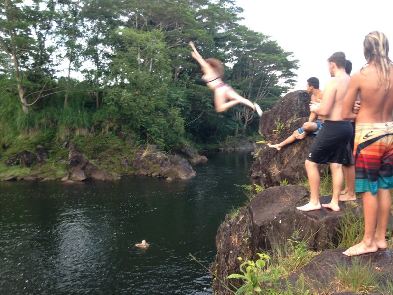 Cliff jumping at Waianuenue.