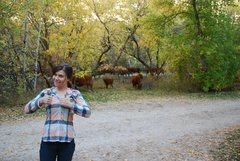 Rock Climbing Photo: Tiff likes cows.