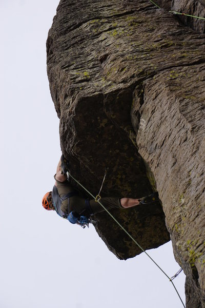 Rock Climbing Photo: Pulling over the roof. Photo by Trish Davidosn
