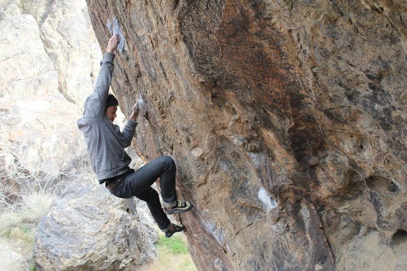 Rock Climbing Photo: Bryant entering the crux.