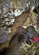 Rock Climbing Photo: Marshall Gilbert charged up for the Death Dyno