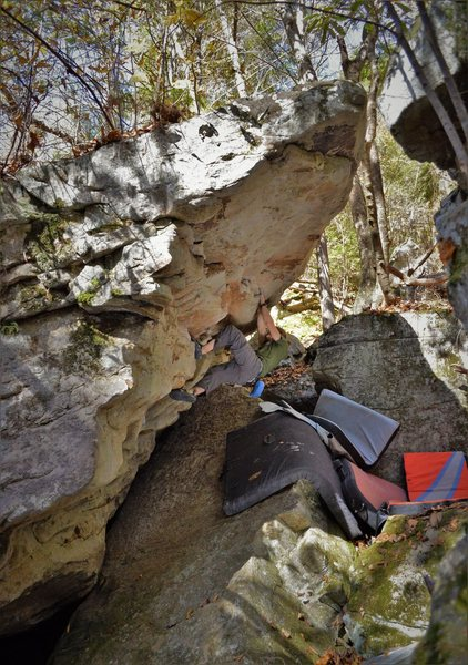 Rock Climbing Photo: Marshall charged up for the Death Roof Dyno